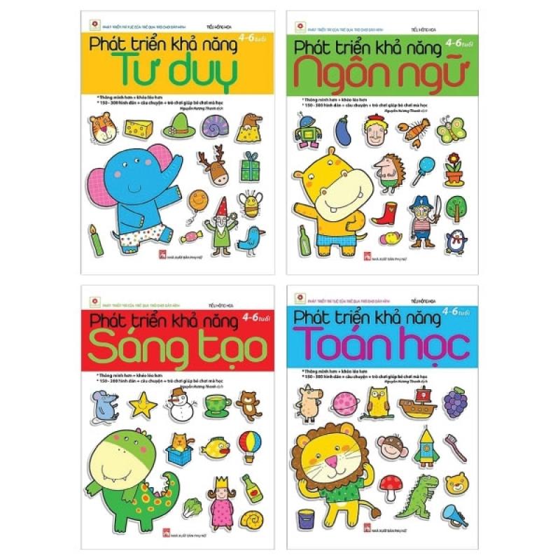 Fahasa - Combo Sách Hay Phát Triển Khả Năng: Ngôn Ngữ + Sáng Tạo + Toán Học + Tư Duy (4 - 6 Tuổi) (Bộ 4 Cuốn)
