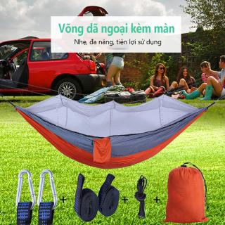 Võng dù võng mùng vòng màn võng vải có màn mùng chống muỗi võng dã ngoại cắm trại cỡ lớn võng picnic võng đôi võng đẹp thời trang 2 màu xanh và cam Tops Market thumbnail