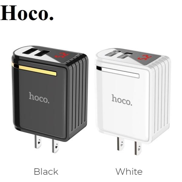 Củ sạc nhanh Hoco C39 2 cổng USB 24A có đồng hồ đo dòng điện tương thích nhiều thiết bị Iphone Samsung Huawei Oppo Xiaomi