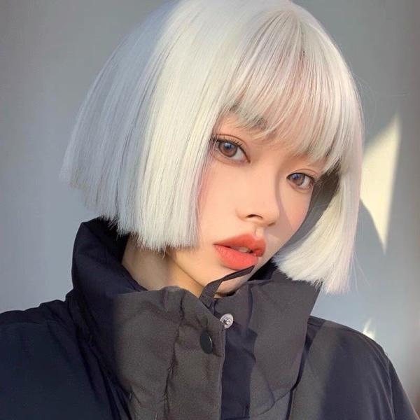 tóc giả ngắn vic màu bạch kim ❤️FREESHIP❤️ tặng kèm lưới trùm tóc cao cấp