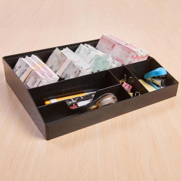 Eight Grids Cash Drawer Box Support Register Insert Coin Tray Cashier Tidy Storage Adjust Safe Box