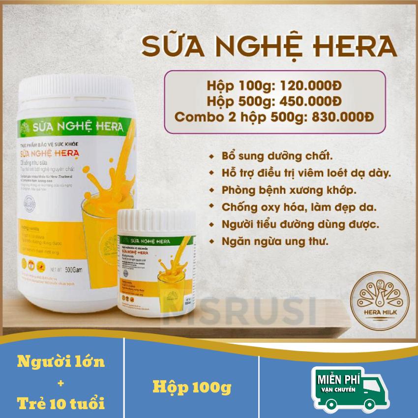 Sữa Nghệ Hera Cho Hệ Tiêu Hóa Khỏe Mạnh Tăng Sức Đề Kháng Nhanh Lành Vết Thương Bù Năng Lượng 100g - MSRUSI