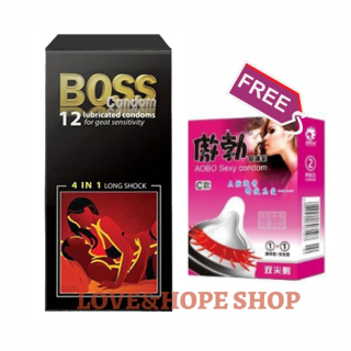 [HÀNG LOẠI 1]Bao Cao Su Boss 4in1 long shock 12s TẶNG KÈM Bao Cao Su Gai 2s hỗ trợ Kéo Dài Thời Gian - 1 set - Love&Hope Shop thumbnail