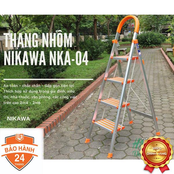 Thang nhôm ghế 4 bậc Nikawa NKA-04 thang gia đình  (Trắng - Cam)