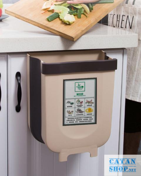 Thùng rác, Giỏ rác VUÔNG đa năng gấp gọn treo kẹp tủ bếp nhựa dẻo siêu bền cho nhà bếp và xe hơi GD352-ThungracGG-Vuong