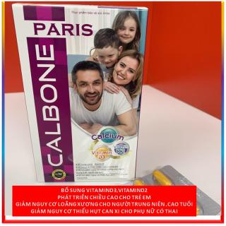Viên uống bổ sung canxi CALBONE - PARIS - Giúp phát triển chiều cao cho trẻ em, ngừa loãng xương cho người già hiệu quả - Hộp 60 viên - Chuẩn GMP Bộ Y tế thumbnail