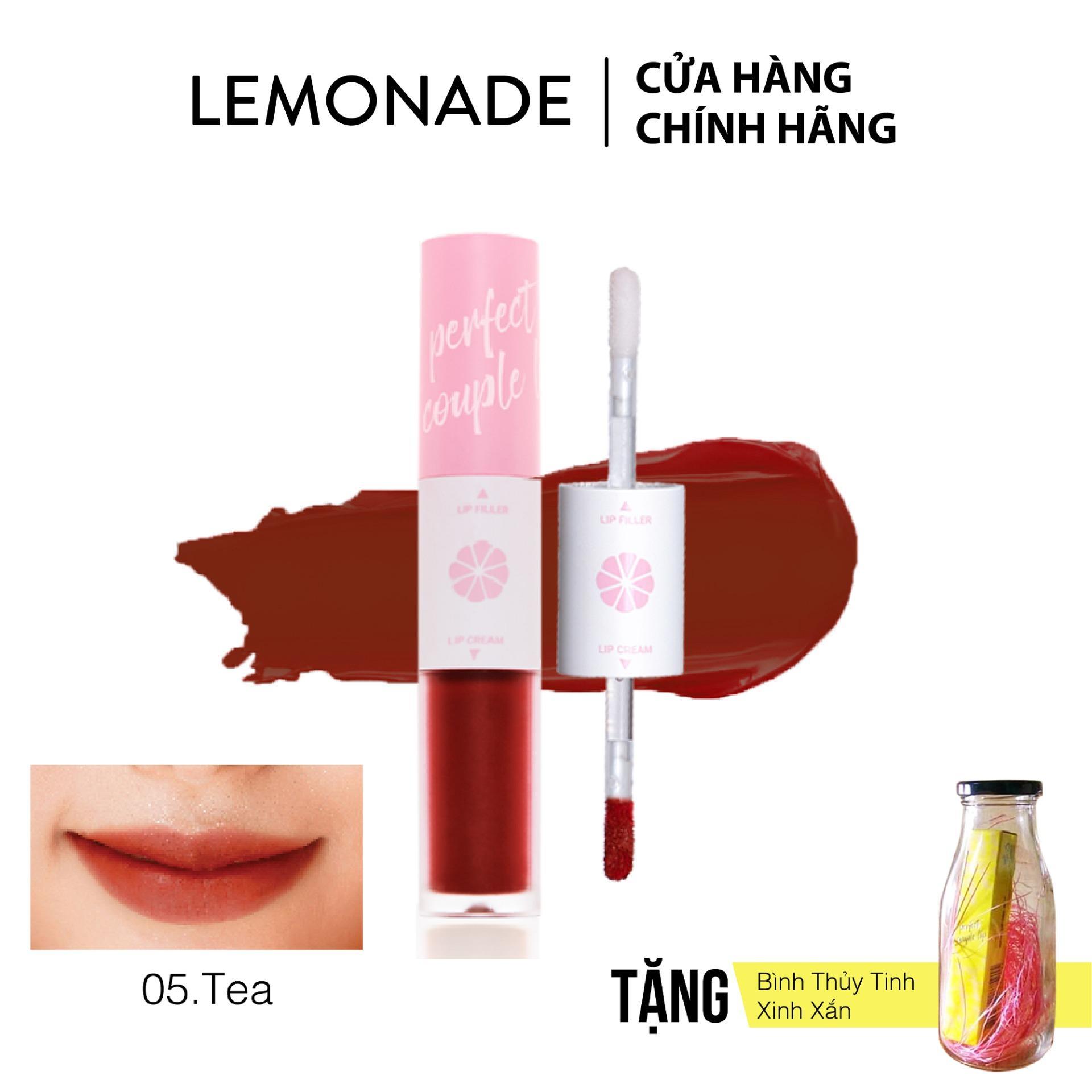 Son LEMONADE Perfect couple lip 05 Tea đỏ đất - Tặng kèm bình thủy tinh xinh xắn tốt nhất