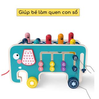 Bộ đồ chơi đập chuột 3 trong 1 cao cấp bằng gỗ an toàn, sơn màu độc đáo sáng tạo bắt mắt cho các bé trai và bé gái trên 1 tuổi vui chơi rèn luyện tại nhà, thiết kế hình xe ô tô cho bé có thể cầm dây kéo đi thumbnail