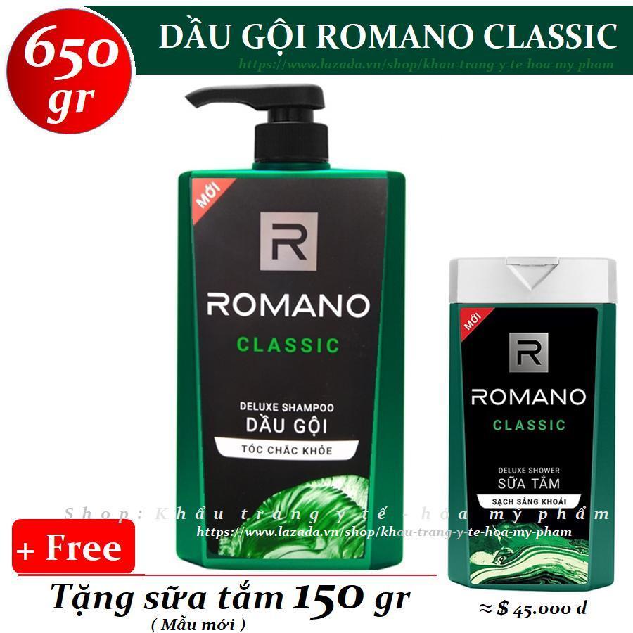 Romano - Dầu gội hương nước hoa Classic 650 gr + Tặng Sữa tắm 150 gr