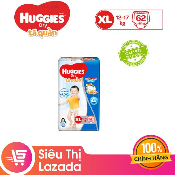 Tã/bỉm quần Huggies Super Jumbo XL62 (Đệm mây co giãn) - Gói 62 miếng (Cho bé 12kg - 17kg)