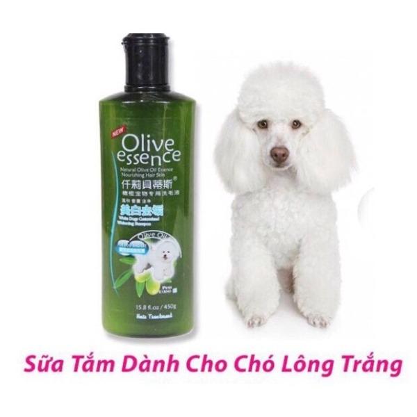 SỮA TẮM CHO THÚ CƯNG CHÓ MÈO Olive Essence Chai 450ml Chai Số 2 Dành Cho Thú Cưng Lông Trắng