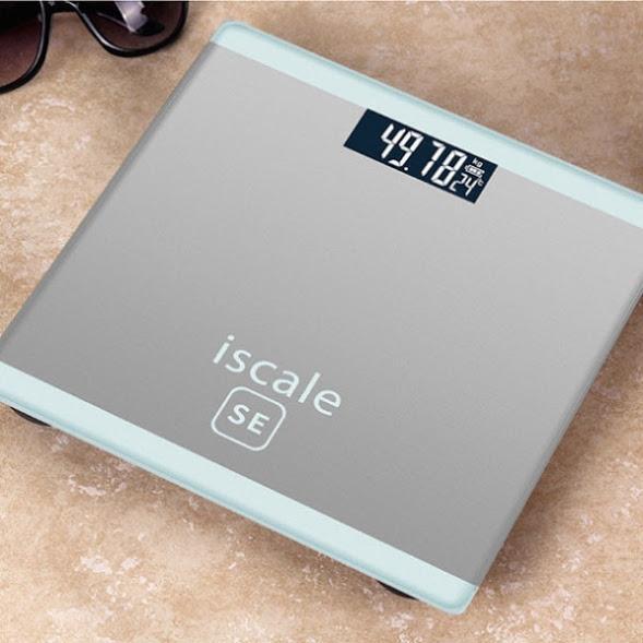 Cân sức khỏe điện tử mặt kính cường lực Iscale SE tặng kèm Pin AA tặng kèm thước đo nhập khẩu