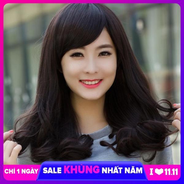 [TẶNG KÈM LƯỚI] Tóc giả nữ nguyên đầu sợi tơ Hàn Quốc CÓ DA ĐẦU - TG27 ( MÀU ĐEN ) cao cấp