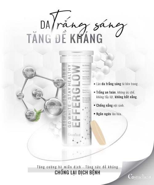 Tách lẻ - 1 ống -Viên Sủi Uống Trắng Da Cosmeheal Healthy White EfferGlow giá rẻ