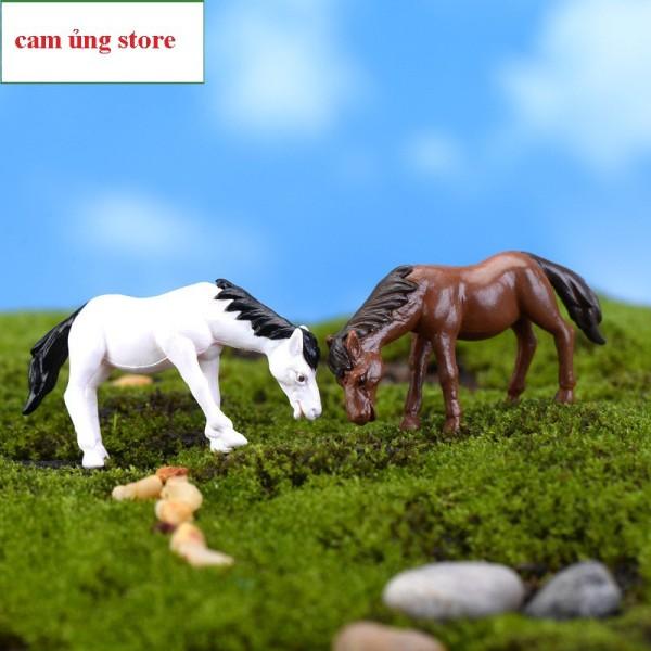 Mô Hình Ngựa Ăn Cỏ Trang Trí Tiểu Cảnh , Terarium, Bonsai, Bể Cá Bể Thủy Sinh