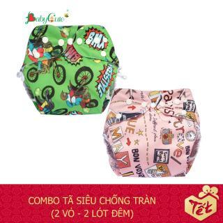 Combo 2 bộ tã vải BabyCute Đêm Siêu chống tràn size S (3-9kg) (2 Vỏ + 2 Lót) mẫu bé Gái thumbnail