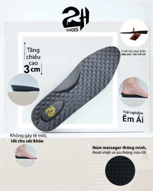 Lót giày tăng chiều cao 3cm nguyên khối siêu nhẹ và không sụt lún, hạt matxa chân bảo vệ sức khỏe SHOES 2H foot -L04 giá rẻ