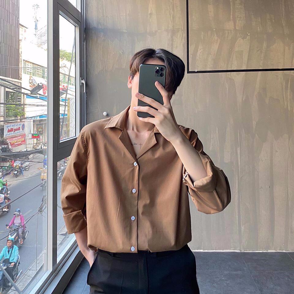 Áo Sơ Mi Cổ Vest Nâu Form Rộng Unisex - Áo Sơ Mi Thời Trang Cao Cấp Nam Nữ Mặc Full Size SW027 Siêu Tiết Kiệm