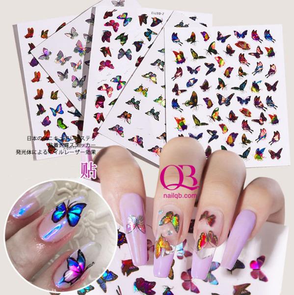 Sticker nail 3D bướm phát sáng đổi màu