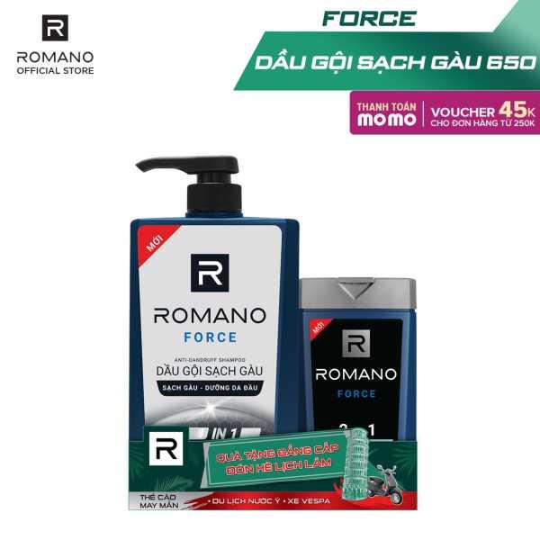 Dầu gội sạch gàu Romano Force mạnh mẽ tự tin loại bỏ & ngăn gàu trở lại 650gr- Tặng tắm gội Romano Force 150g cao cấp