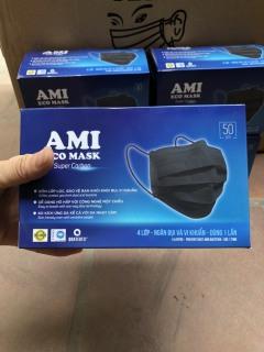 [1 hộp 50 chiếc Đen] Khẩu trang y tế AMI 4 lớp than hoạt tính kháng khuẩn ngừa dịch chống thấm nước lọc bụi thumbnail