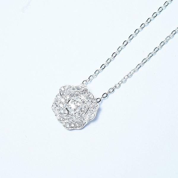 QMJ Dây chuyền bạc 925 cao cấp Hoa hồng Rose nạm đá tinh xảo, hoa hồng tượng trưng cho tình yêu lứa đôi, thể hiện sắc đẹp vốn có của người phụ nữ và làm tôn lên vẻ đẹp ấy một cách sang trọng, quý phái - Q018