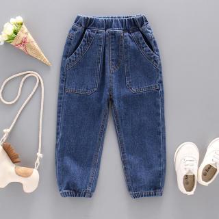 Quần jeans dài kiểu dáng giản dị thiết kế túi rộng ống bó lưng thun dành cho bé trai - INTL