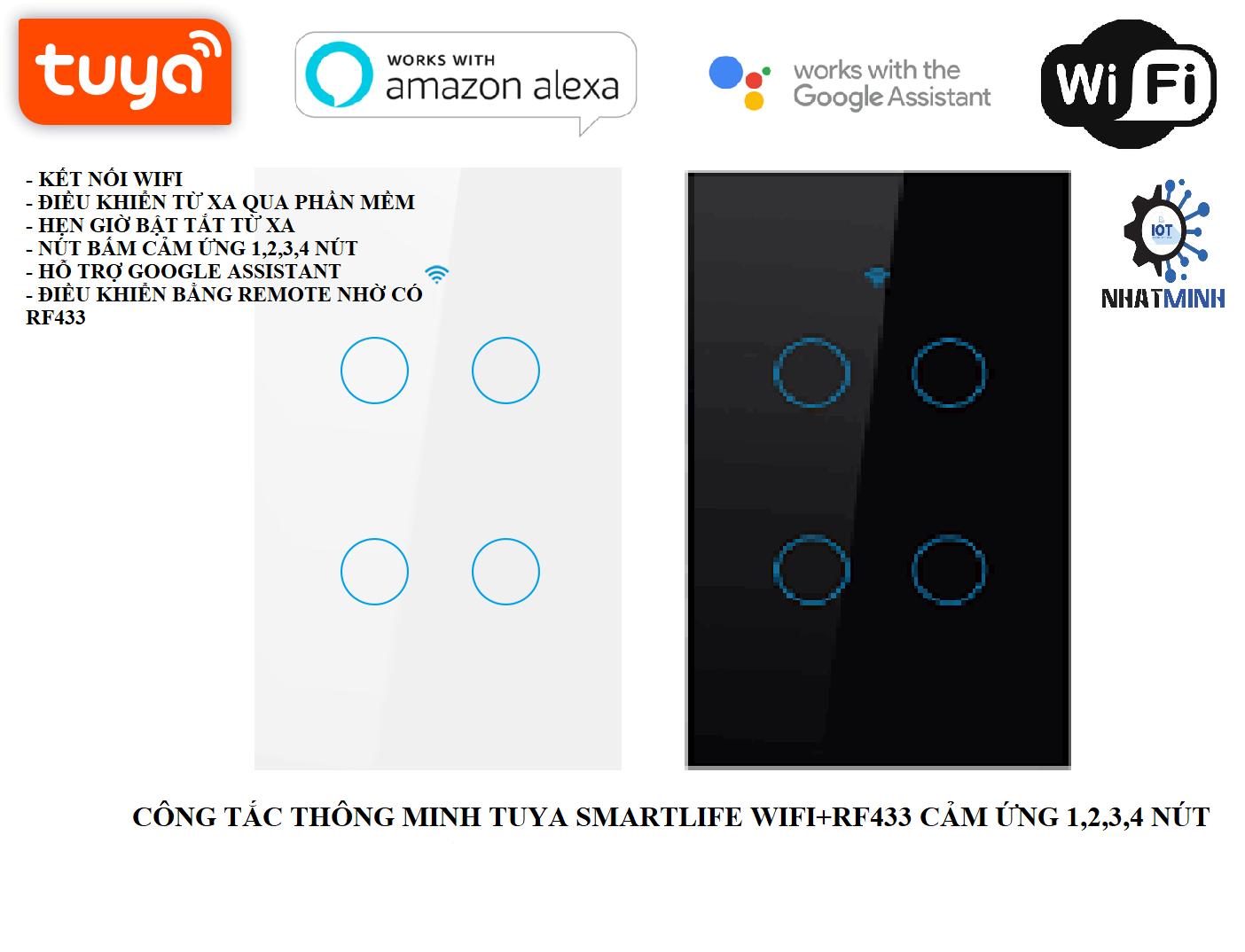[BH 6 THÁNG]Công Tắc Wifi Tuya Smart Life (Wifi+RF433) 4 Nút Chữ Nhật Cảm Ứng mặt kính 4 nút cho nhà thông minh
