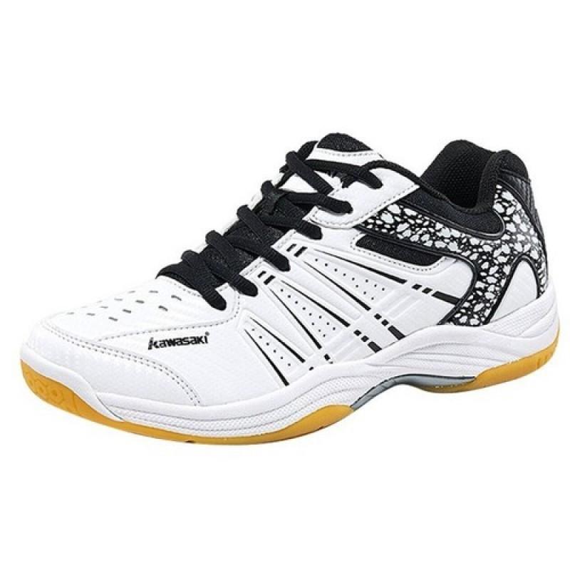 Giày cầu lông, bóng chuyền, bóng bàn, giầy thể thao nam nữ Kawasaki K063 -Đen trắng, đế kép siêu bền