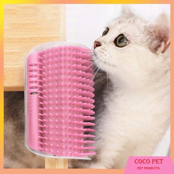 Lược tự chải lông  mat xa gắn tường cho mèo - dụng cụ làm sạch lông cho chó mèo được thiết kế theo thói quen sống của mèo
