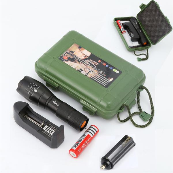 Đèn Pin XML-T6 5 chế độ tặng hộp phụ kiện kèm 4 món , đèn T6 đội đầu soi ếch siêu sáng, đèn gắn xe đạp chiếu xa 100m, đèn đi phượt du lịch