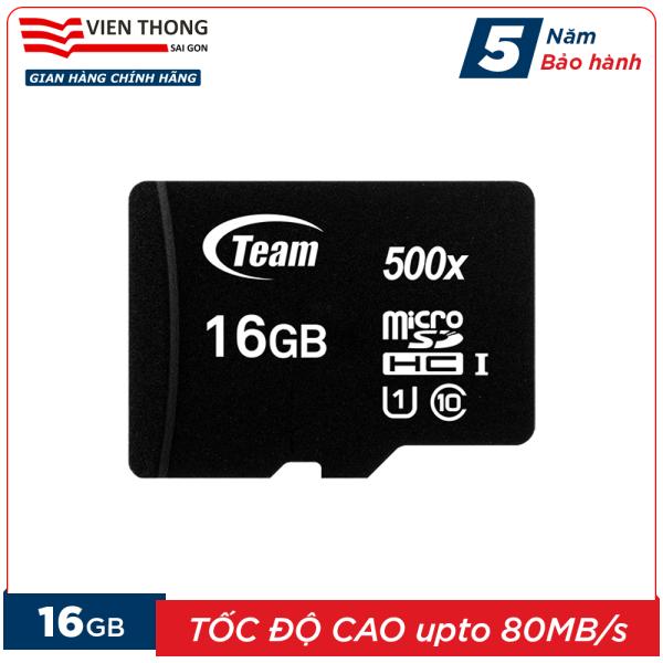 Thẻ nhớ 16GB micro SDHC Team 500x upto 80MB/s class 10 (Đen) - Hãng phân phối chính thức