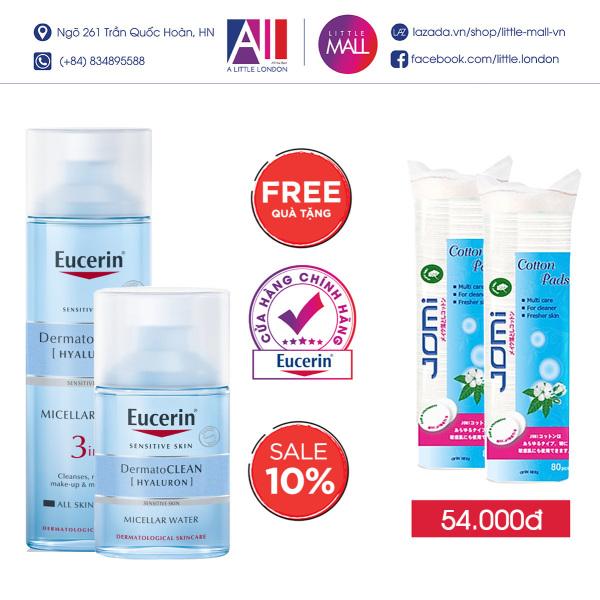 Nước tẩy trang dịu nhẹ cho da nhạy cảm Eucerin dermato clean micellar cleansing fluid 3in1 TẶNG bông tẩy trang Jomi (Nhập khẩu)