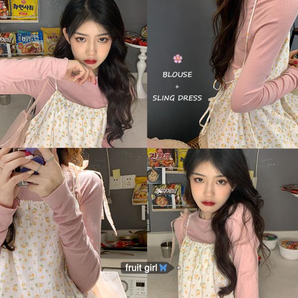 Fruity Hàn Quốc Chic Kiểu Lửng Ngọt Ngào Hoa Nhỏ Hai Dây Đầm + Màu Hồng Dài Tay Áo Mặc Trong Bộ Hai Chiếc