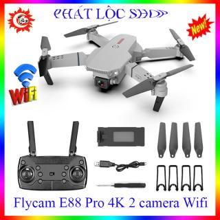 NEW 2021- Máy bay flycam mini E88 pro với 2 camera HD 4K truyền ảnh trực tiếp về điện thoại cân bằng độ cao ổn định khi bay thumbnail