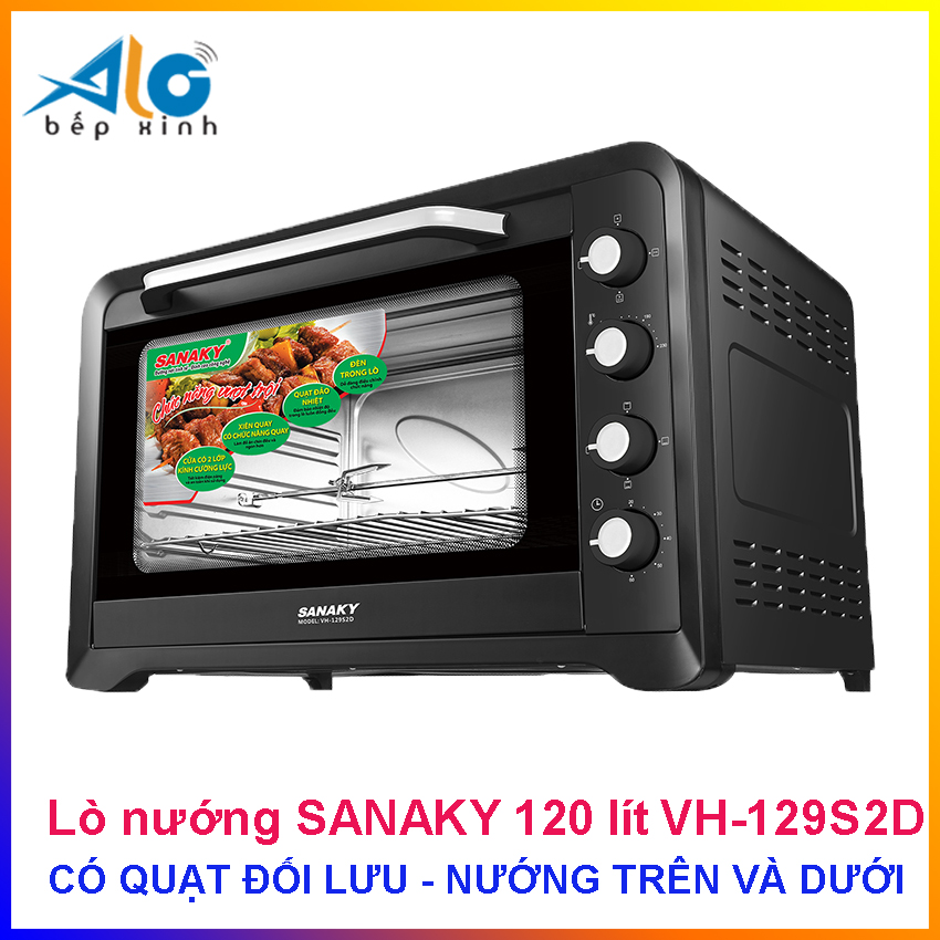 Lò nướng Sanaky 120 lít VH 129S2D - vỏ đen - công suất 2800W - Có quạt đối lưu - Alo Bếp xinh