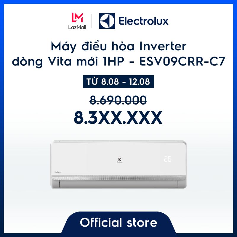 Bảng giá Máy điều hòa Electrolux Inverter 1HP 9000BTU ESV09CRR-C7 – Màu trắng - Thiết kế châu Âu - Lọc khí trong lành - Hạn chế vi khuẩn - Tiết kiệm điện – Thân thiện với môi trường - Hàng chính hãng