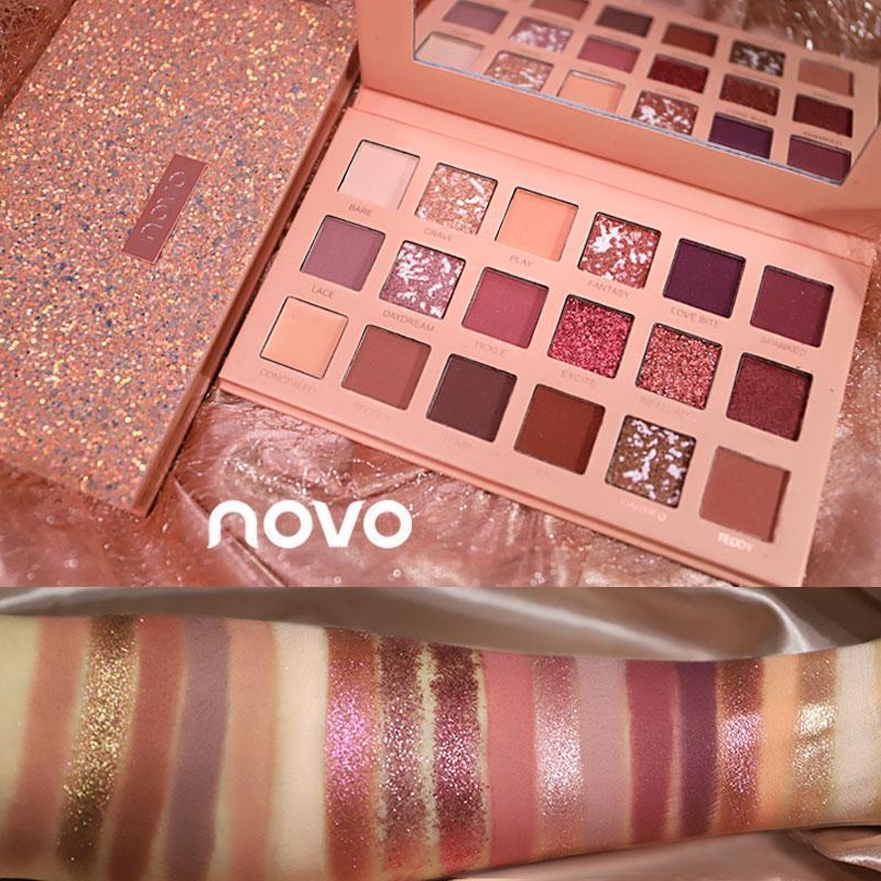 Phấn mắt màu 18 NOVO màu nhũ và lì bột phấn mắt thiên nhiên Nude Eyeshadow