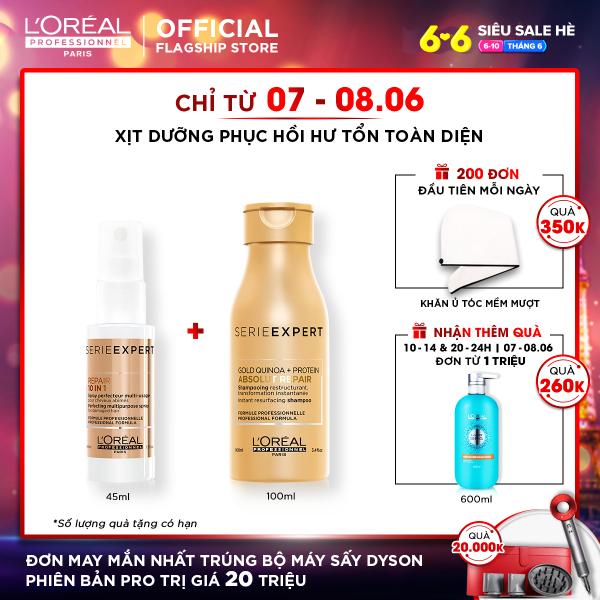 Xịt dưỡng phục hồi tóc hư tổn 10 trong 1 LOréal Professionnel Absolut Repair Gold 45ml cao cấp