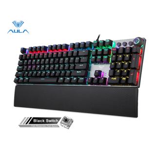 AULA F2058 F2088 Keyboard Gaming Mekanis Tombol Multimedia Sandaran Pergelangan Tangan, Panel Logam Pemrograman Marco Keyboard Backlit LED untuk Gamer Komputer thumbnail