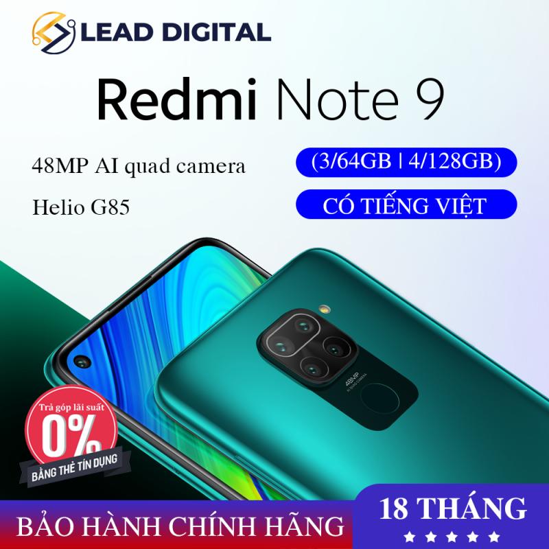 [BẢN QUỐC TẾ] Điện thoại Xiaomi Redmi Note 9 3/64GB 4/128GB- Màn hình 6.53 FULL HD+, Chip MediaTek Helio G85 8 nhân, Camera 48 MP, Camera trước 13MP góc siêu rộng, pin 5020 mAh sạc nhanh 18W - BH Chính hãng 12 tháng