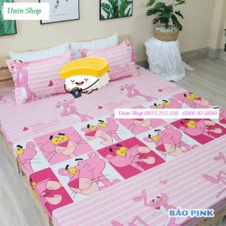 (Thanh lý) Ga bọc nệm, drap bo chun kích thước m6 m8 mẫu Báo Pink siêu đẹp chất Poly - Ga giường bọc bảo vệ đệm, kèm 2 vỏ gối thumbnail