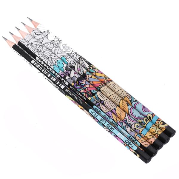 Mua Bút chì 2B Deli, hoạ tiết graphite - 12 cây/hộp EU53300