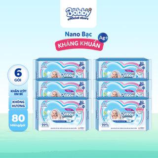Bộ 6 gói khăn giấy ướt trẻ em Bobby Care gói Bổ sung 80 miếng - Giới hạn 5 sản phẩm khách hàng thumbnail