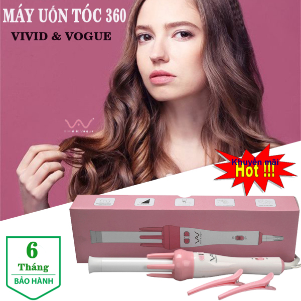 Máy uốn tóc xoăn xoay tự động 360 VIVID & VOGUE, máy làm tóc uốn xoăn tự động. Bảo hành 6 tháng - Lỗi 1 đổi 1 nếu có lỗi của nhà sản xuất !