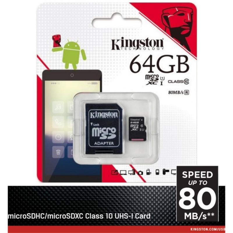 Thẻ nhớ MicroSDXC  64GB Kingston UHS1 Class10 up to 80MB/s - Hãng Phân phối chính thức (PT)