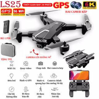 (NEW 2020) - TẶNG TÚI ĐỰNG - Flycam mini 6K, Flycam LSRC LS25 Camera 6K, Định vị GPS - WIFI 5G truyền ảnh trực tiếp về điện thoại, thời gian bay 20 phút,chế độ bay không đầu - nhào lộn 360°  độ -camera lên xuống 90° - BH 3 THÁNG