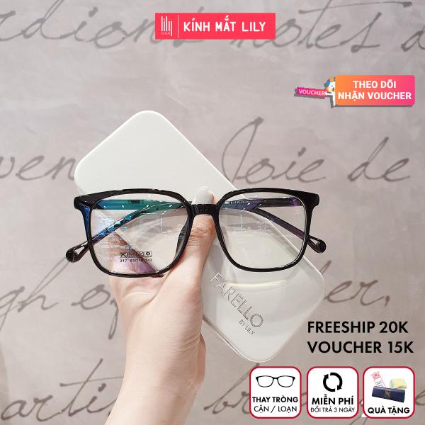 Giá bán Kính cận nam nữ Lily Eyewear 217 nhựa dẻo, mắt kính gọng vuông phù hợp với nhiều khuôn mặt, kính Hàn Quốc có độ kính gọng nhựa mắt trong suốt kính thời trang giả cận nhiều màu một size, kèm quà