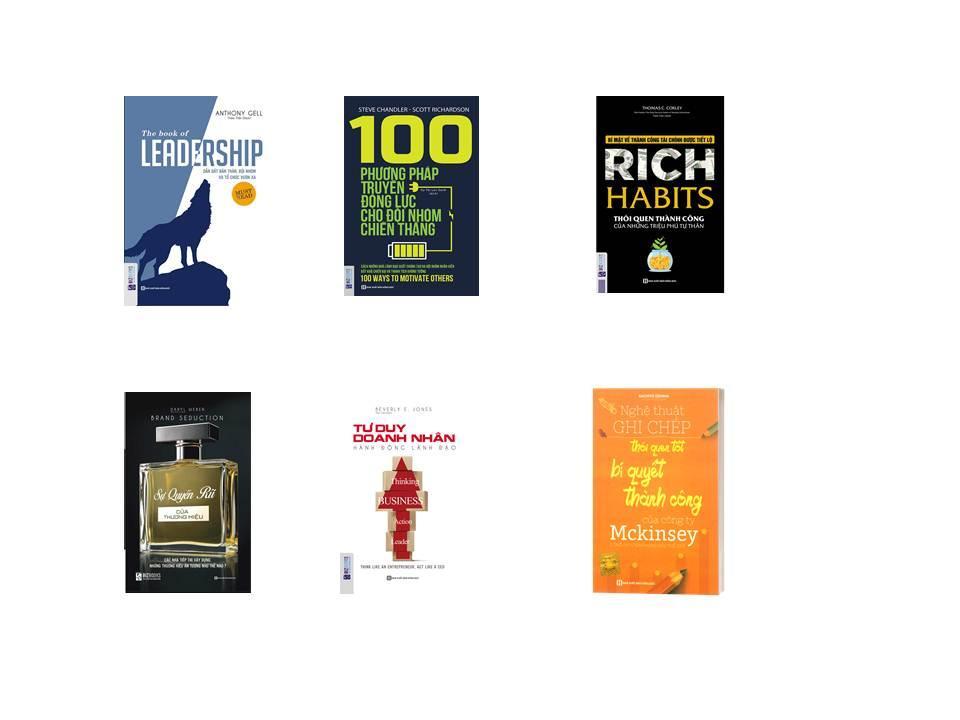 combo 5 cuốn sách:+ LEADERSHIP +Rich Habits thói quen thành công của những tự phú tự thân +Tư Duy Doanh Nhân Hành Động Lãnh Đạo +Sự Quyến Rũ Của Thương Hiệu +100 Phương Pháp Truyền Động Lực Cho Đội(tặng 101 thành công+BOOKMARK)