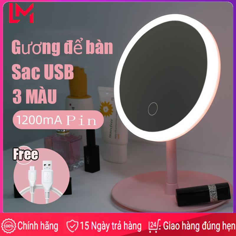 3 MÀU gương để bàn USB Gương để bàn trang điểm Gương để bàn có đèn led Gương để bàn có đèn hàn quốc gấp gọn cao cấp